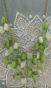 Muti tonal green square beaded statement necklace